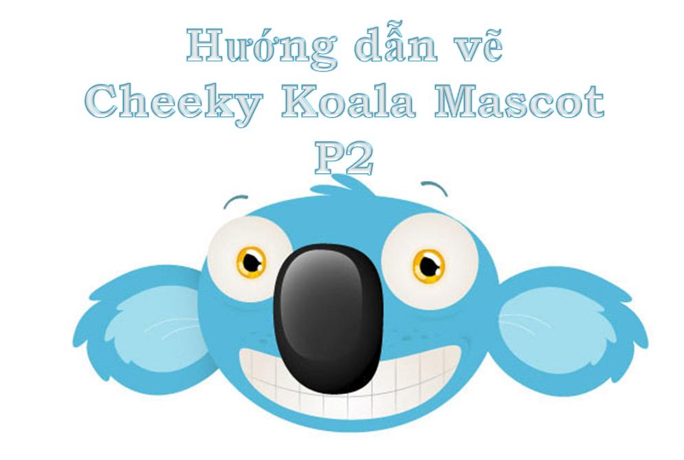 Cheeky Koala Mascot Head vẽ với Adobe Illustrator -  P2