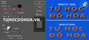 Opacity của Drop Shadow trong photoshop
