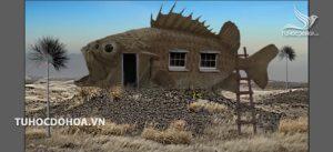 File bài tập photoshop Ngôi nhà cá