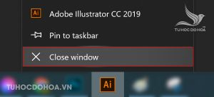 Tắt phần mềm Illustrator