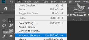 Cách cài đặt lại phím tắt Undo trong photoshop