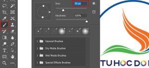 Chọn loại cọ tương ứng để áp dụng Opacity và fill trong photoshop